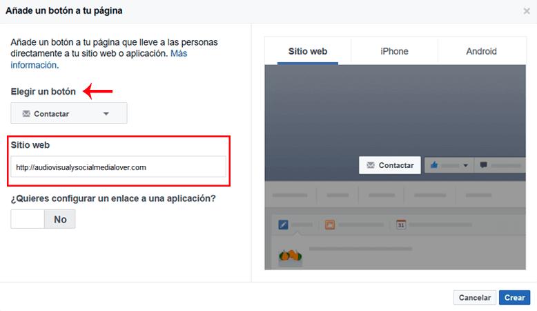 Configura el botón 'call to action' que hayas elegido para tu página de Facebook