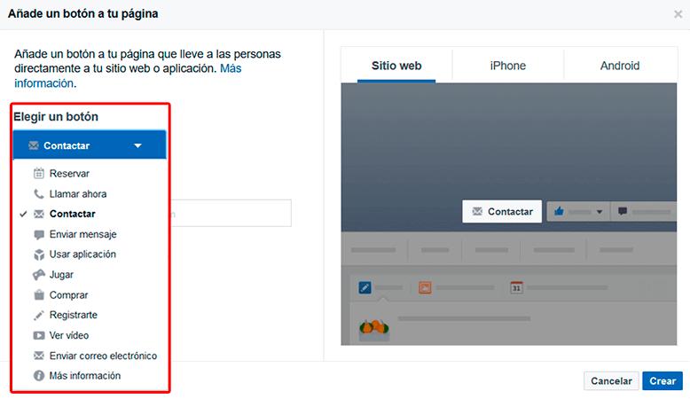 Once tipos de botones 'call to action' para tu Fan Page en Facebook