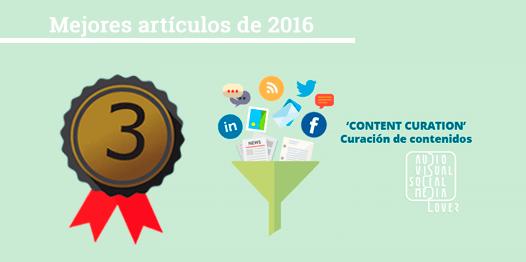 Medalla de bronce - Tercer puesto de los mejores artículos del blog 'Audiovisual & Social Media Lover' en 2016