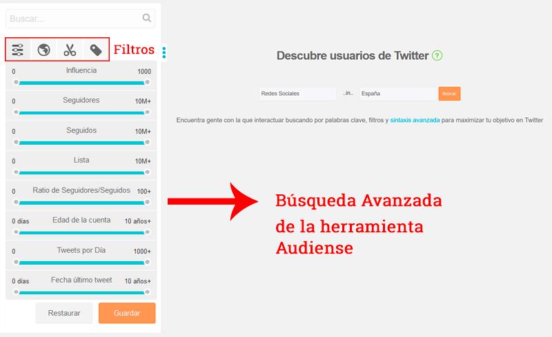 Ejemplo de búsqueda avanzada de usuarios en Twitter con la herramienta Audiense